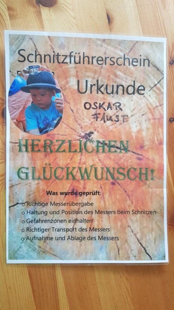 Schnitzführerschein Urkunde