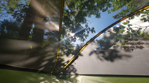 Blick aus dem Baumzelt am Morgen
